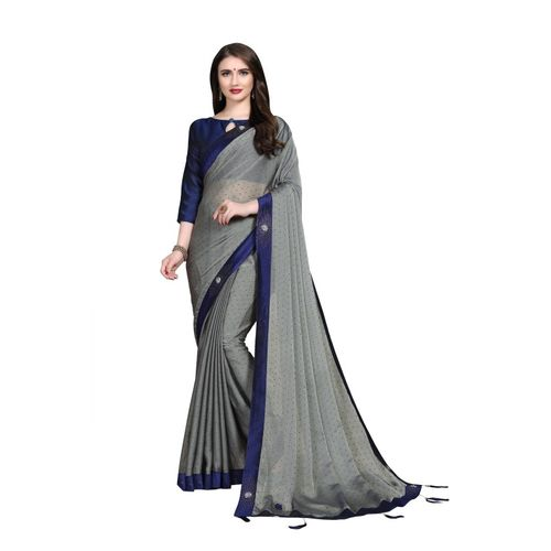 Sanku Fashion Embellished, Solid Fashion Chiffon, Poly Silk Saree(Grey)