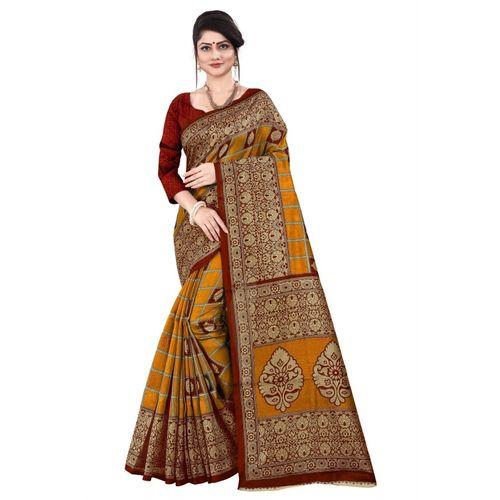 Kara Woven Kanjivaram Silk Blend, Pure Cotton Saree(Multicolor)