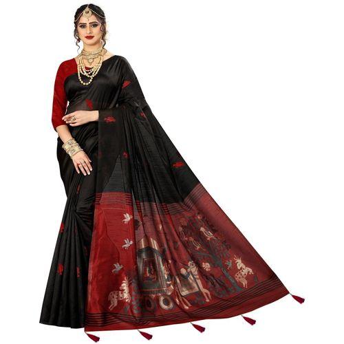 Being Banarasi Woven Fashion Silk Blend, Jacquard Saree(Black)