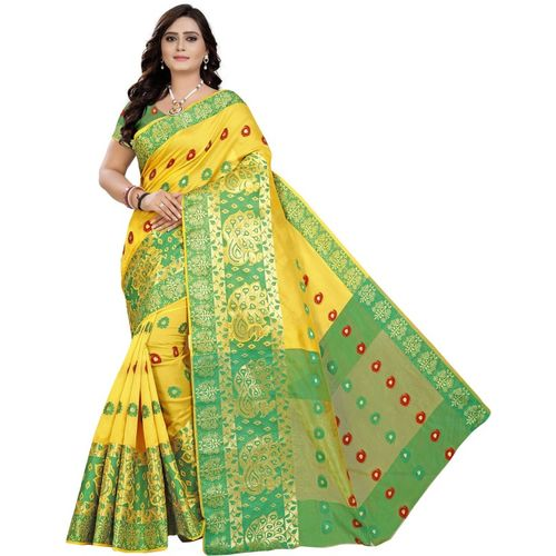 Cartyshop Self Design Banarasi Silk Blend, Cotton Blend Saree(Yellow)