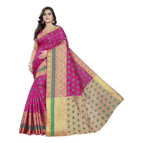 Cartyshop Woven Banarasi Pure Silk, Art Silk Saree(Pink)