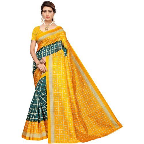 Samah Printed, Geometric Print, Checkered Bandhej Silk Blend, Poly Silk Saree(Dark Green, Yellow)