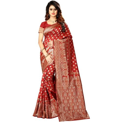 Shoppershopee Self Design Bollywood Poly Silk Saree(Red)