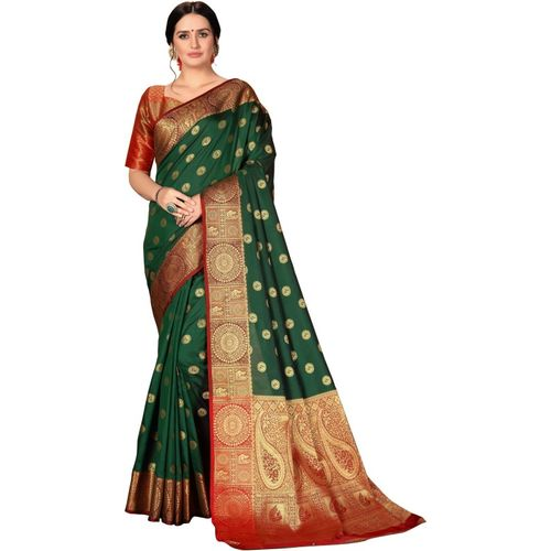 Rola Trendz Self Design, Woven, Embellished Kanjivaram Art Silk, Cotton Silk Saree(Dark Green)