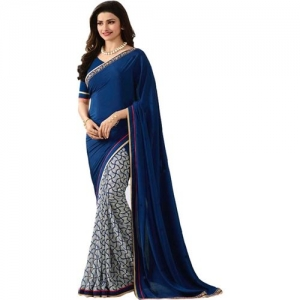 Bombey Velvat Fab Printed, Self Design Daily Wear Poly Georgette, Chiffon Saree(Dark Blue, White)