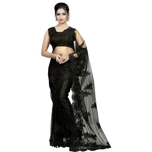 Availkart Self Design Fashion Net Saree(Black)