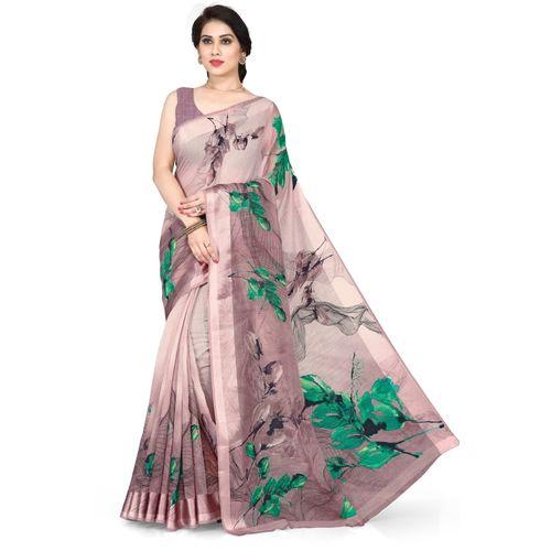 Mirchi Fashion Printed, Floral Print Fashion Cotton Blend, Polycotton Saree(Purple, Green)