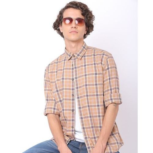 INDIAN TERRAIN Checked Slim Fit Shirt with Patch Pocket