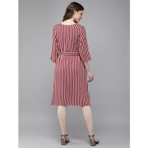 Mimosa pearl embellished striped a-line dress