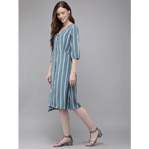 Mimosa v neck striped a-line dress