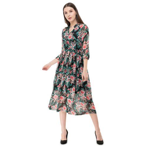 FLIRTIVARIUS mandarin neck tropical fit & flare dress