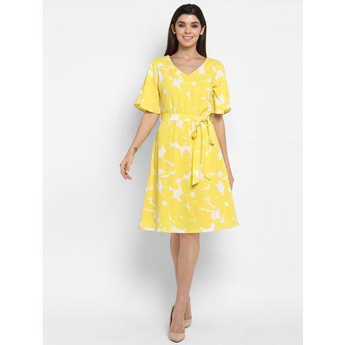 Color Cocktail mellow yellow tie front a-line dress