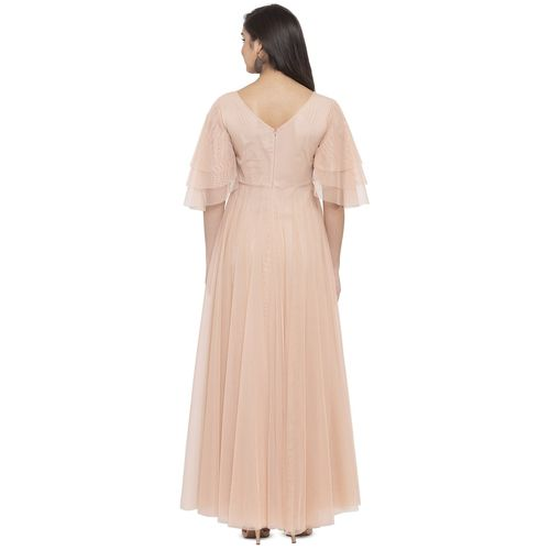 just wow bell sleeved floral applique maxi dress