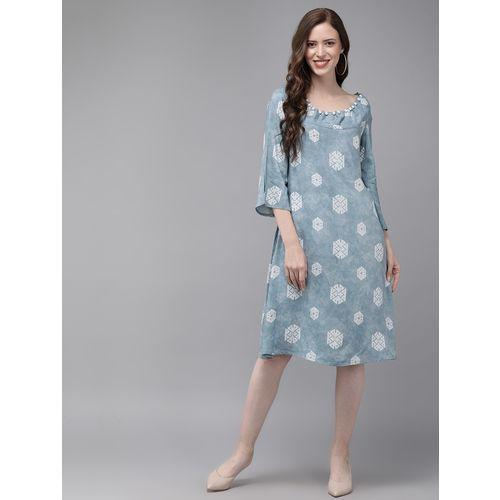 Mimosa pearl embellished block print a-line dress