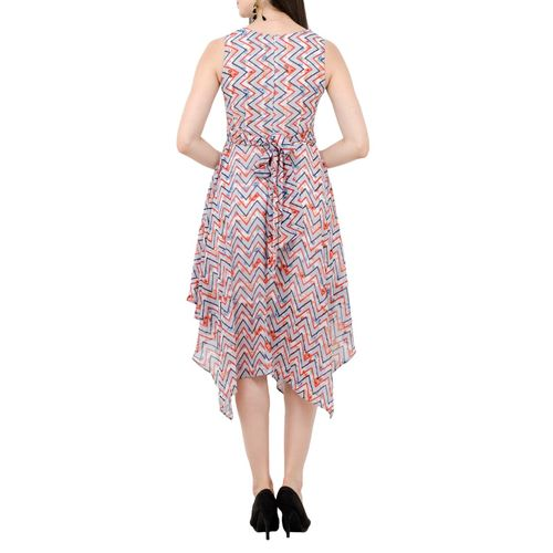SWADESI INDIA sleeveless chevron asymmetric dress