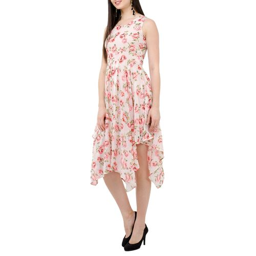 SWADESI INDIA floral sleeveless asymmetric dress