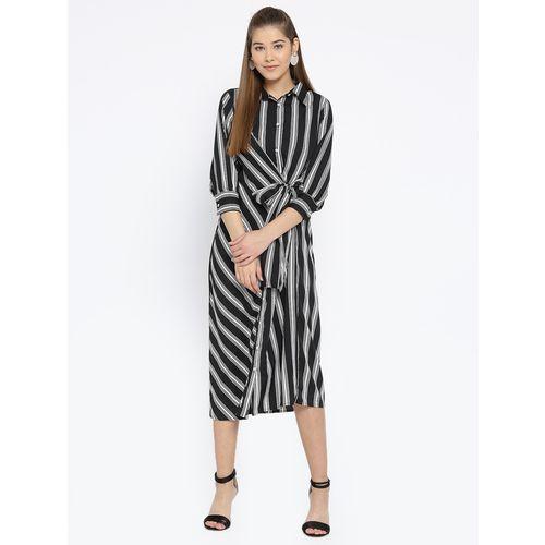 Sassystripes button-up faux wrap tie-front dress