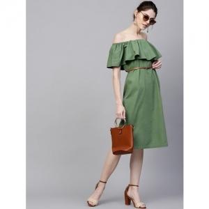 Diva Walk Exclusive olive denim off shoulder dress