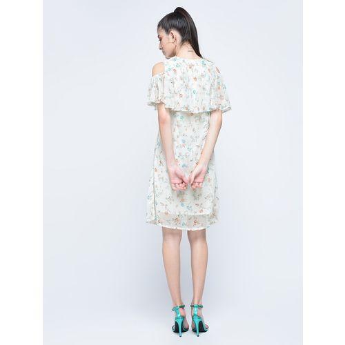 Naisha ruffled cold shoulder a-line dress