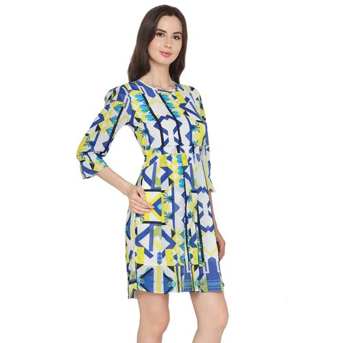 P Nut Casuals tie back abstract a-line dress