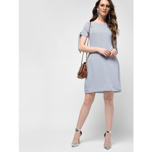COLOR BLOCK tie up sleeved a-line dress