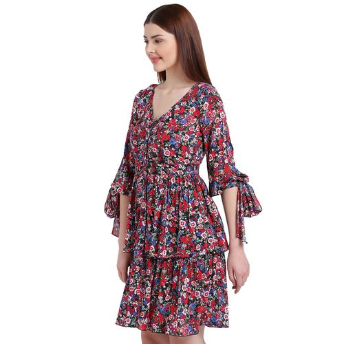 texco red printed modal layered dress
