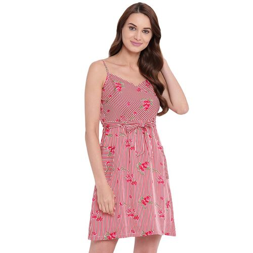 texco tie front striped a line dress