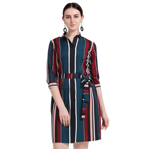 Fbella tie front striped shirt dress
