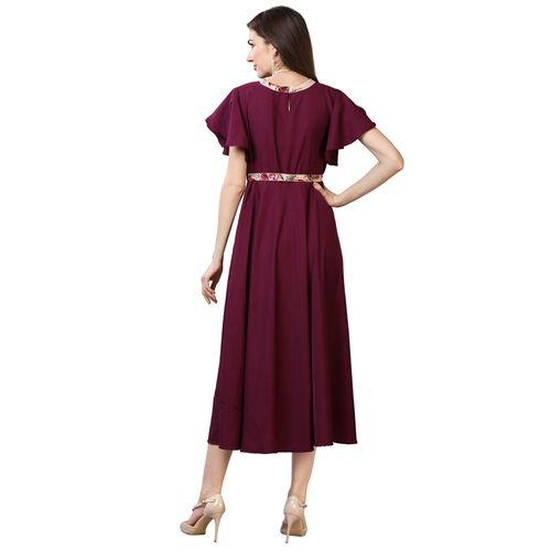 Oomph! purple crepe aline dress