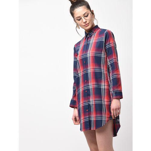 Inuka checkered curved hem shirt dress