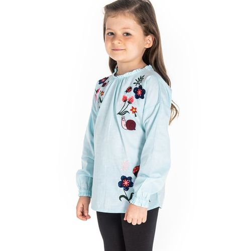 Cherry Crumble by Nitt hyman Embroidered Top with Frill Neckline