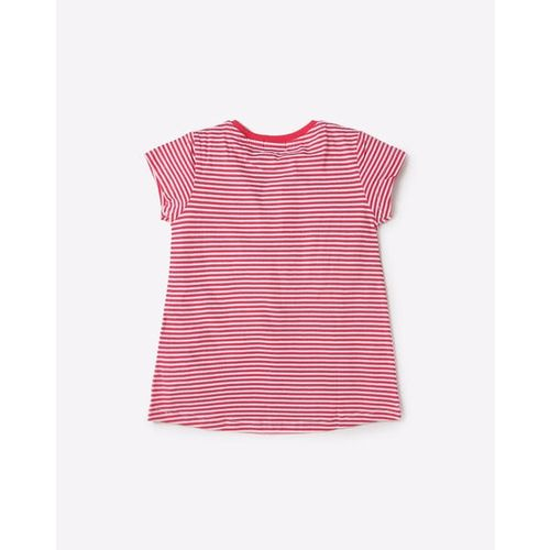 UNITED COLORS OF BENETTON Striped Crew-Neck T-shirt with Applique