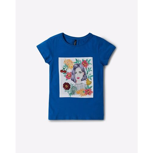 RIO GIRLS Crew-Neck T-shirt with Embroidered Panel