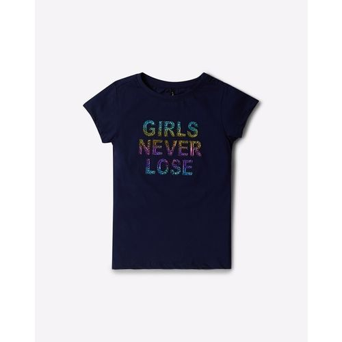 RIO GIRLS Typographic Print Crew-Neck T-shirt