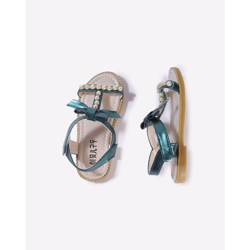 Hoppipola Embellished Strappy Sandals with Velcro Closure