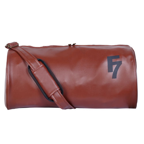 Fashion 7 Leatherite Gym Bag - Duffel Bag for Fitness Freaks Stylish Printed Sports Bag (Brown)