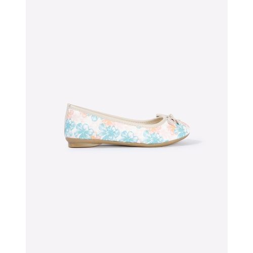 AJIO Floral Print Ballerinas with Bow Accent