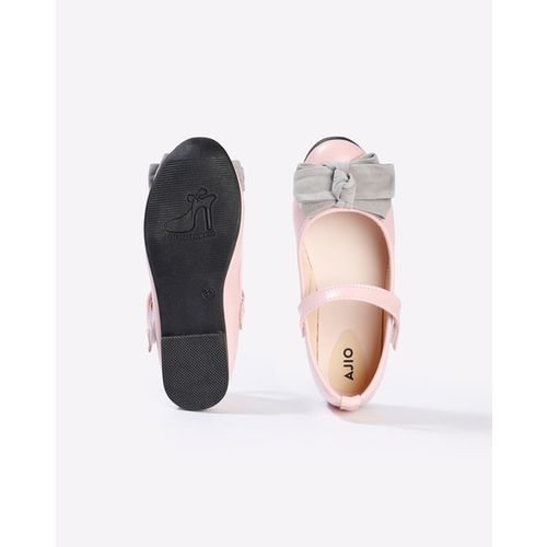 AJIO Flat Shoes with Contrast Bow Accent