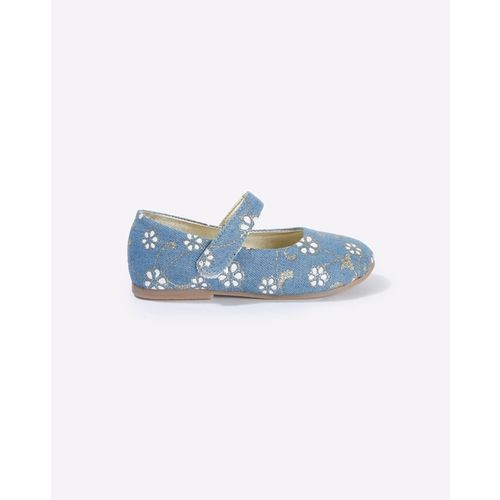 AJIO Floral Print Mary Janes with Velcro Closure