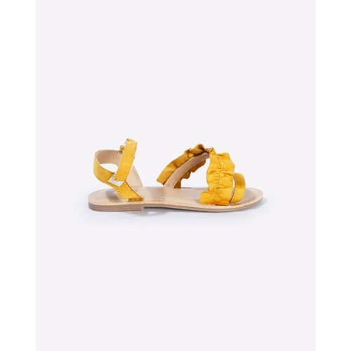 AJIO Frilled Slingback Sandals with Velcro Fastening