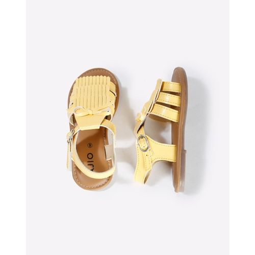 AJIO Open-Toe Strappy Sandals with Fringe