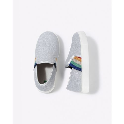 UNITED COLORS OF BENETTON Metallic Slip-On Shoes with Contrast Gussets