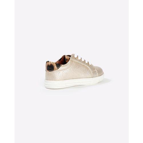 Difeet Textured Metallic Lace-up Flat Shoes