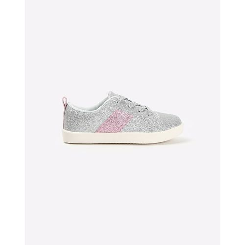 UNITED COLORS OF BENETTON Shimmery Lace-Up Casual Shoes with Contrast Panel