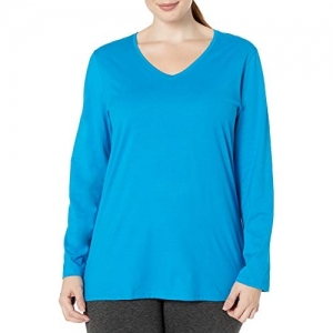 Just My Size Sky Blue Plus Size V-neck Long Sleeve Tee