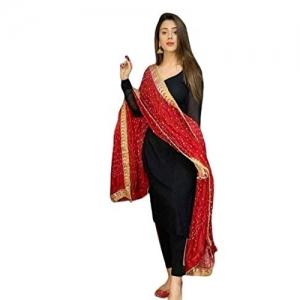 Evozana Black Solid Kurta Pant Salwar with Dupatta Set