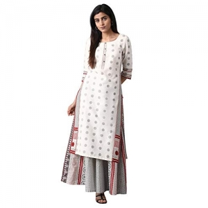 W for Woman (20FEW13254-113660 (X-Large)) White cotton Straight Kurta