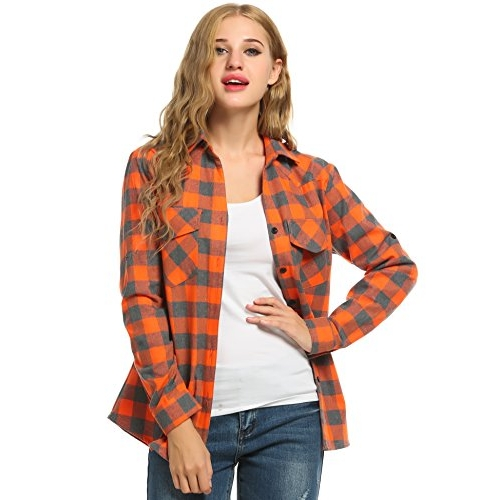 Zeagoo Orange Flannel Shirt, Roll Up Long Sleeve Checkered Cotton Shirt