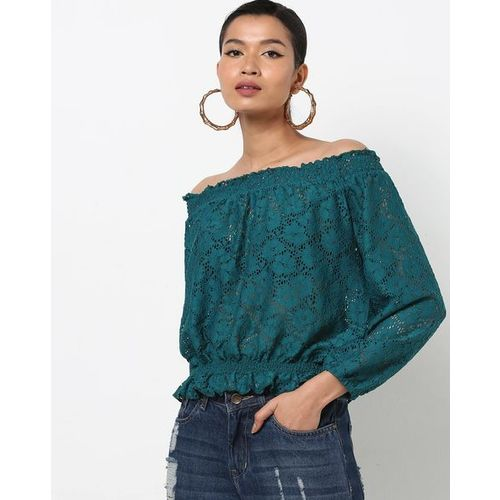 RIO Off-Shoulder Lace Top with Smocked Waist