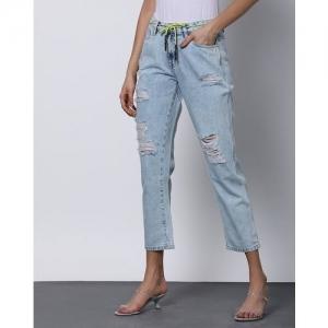 Outryt Women Mid-Rise Heavily Washed Light Blue Boyfriend Jeans